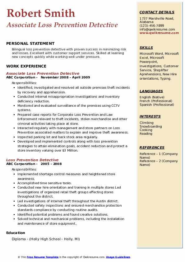 Associate Loss Prevention Detective Resume Sample