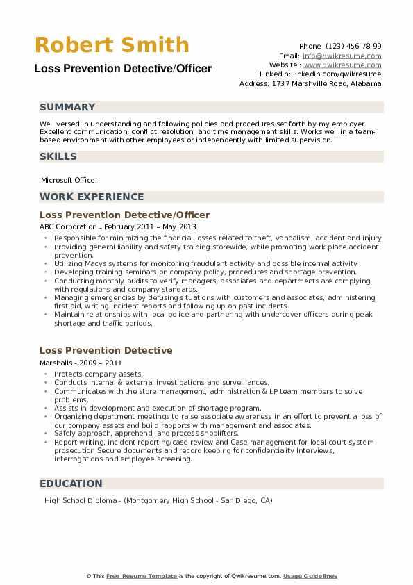Loss Prevention Detective/Officer Resume Template