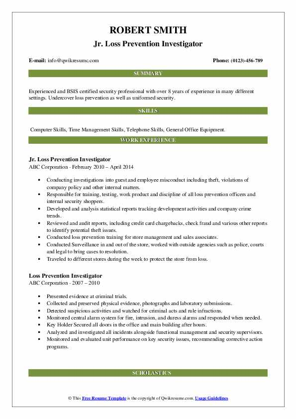 Loss Prevention Investigator Resume Samples Qwikresume