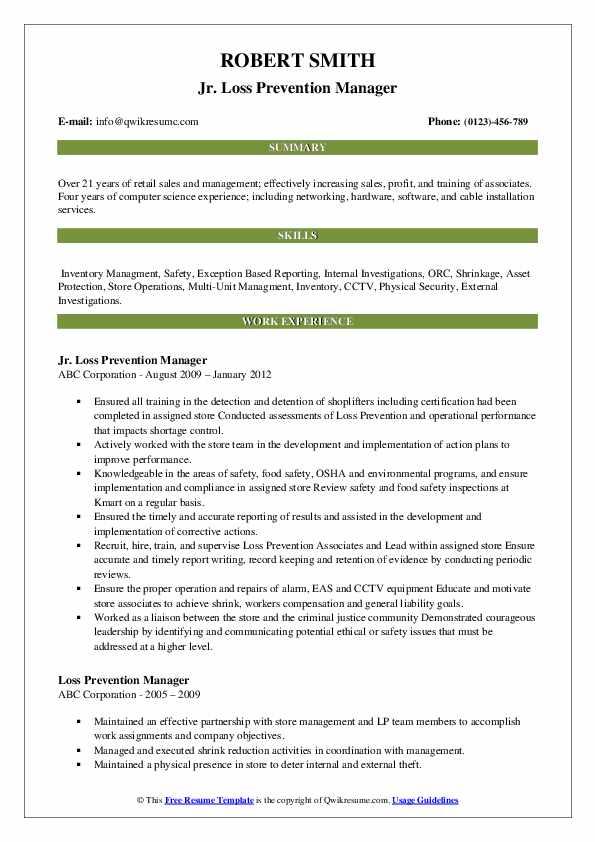 Jr. Loss Prevention Manager Resume Model