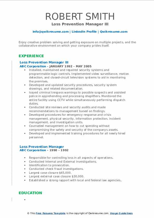 Loss Prevention Manager III Resume Template