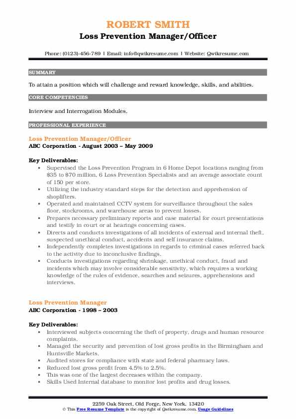 Loss Prevention Manager/Officer Resume Template