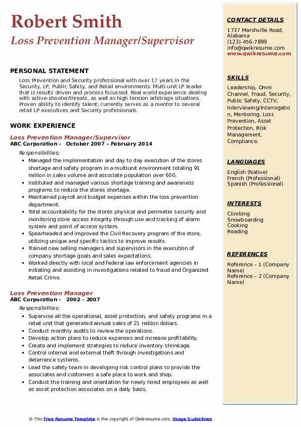 Loss Prevention Manager/Supervisor Resume Sample