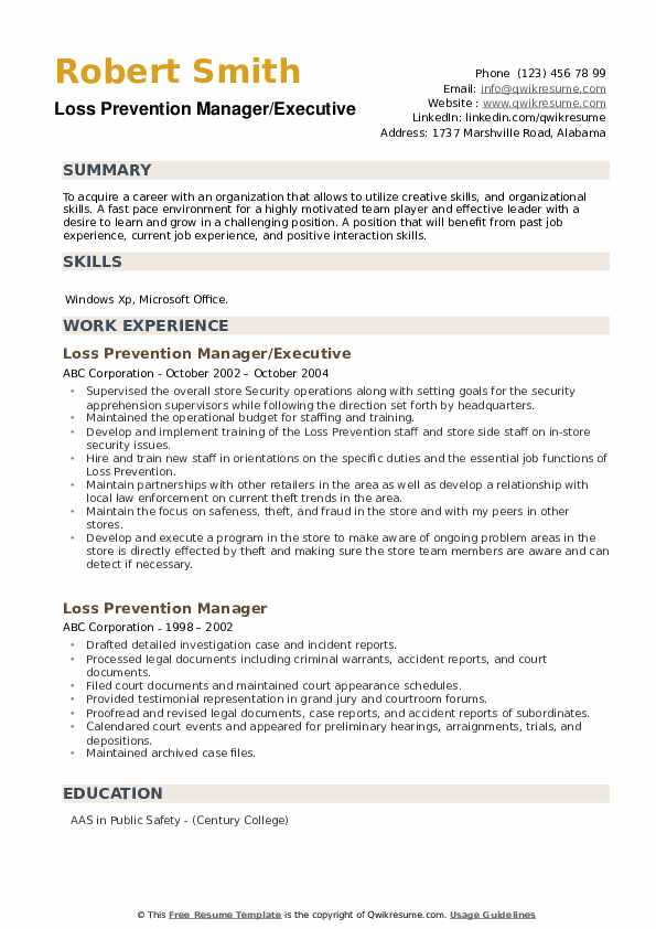 Loss Prevention Manager/Executive Resume Sample