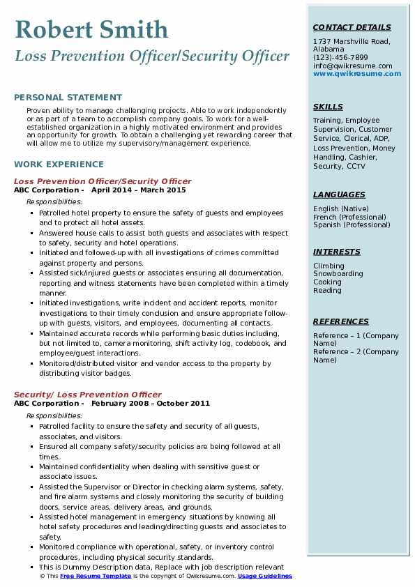 Loss Prevention Officer/Security Officer Resume Format