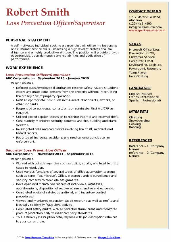 Loss Prevention Officer/Supervisor Resume Example