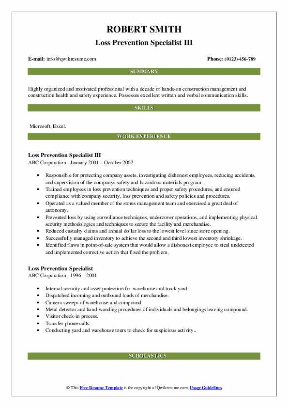 Loss Prevention Specialist III Resume Sample