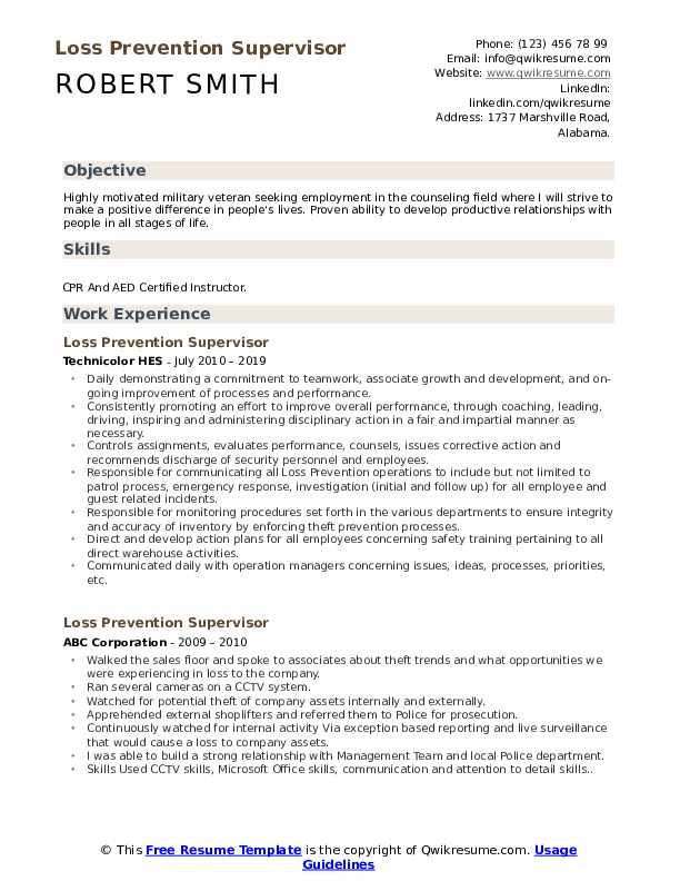Loss Prevention Supervisor Resume Format