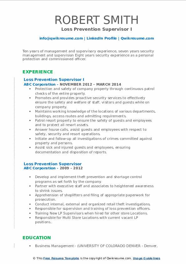 Loss Prevention Supervisor I Resume Template