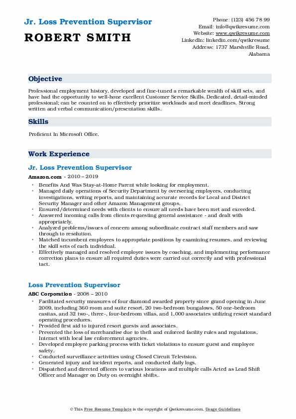 Jr. Loss Prevention Supervisor Resume Example