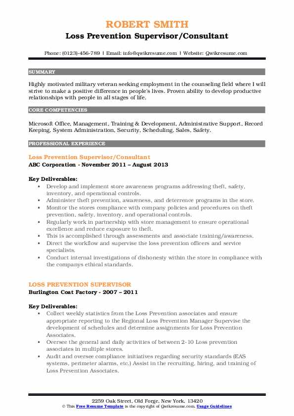 Loss Prevention Supervisor/Consultant Resume Template