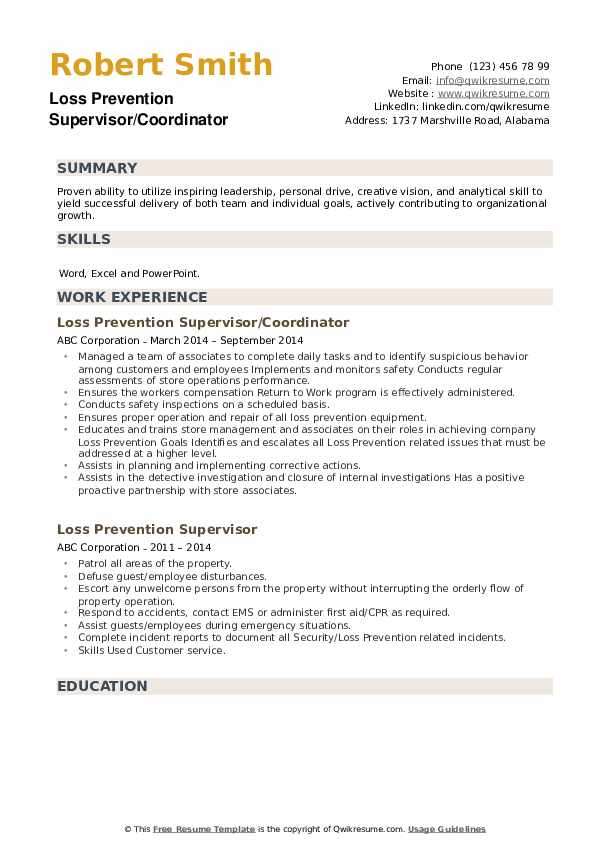 Loss Prevention Supervisor/Coordinator Resume Format