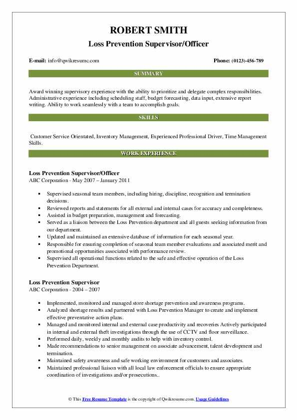 Loss Prevention Supervisor/Officer Resume Example