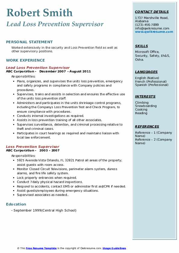 Lead Loss Prevention Supervisor Resume Sample