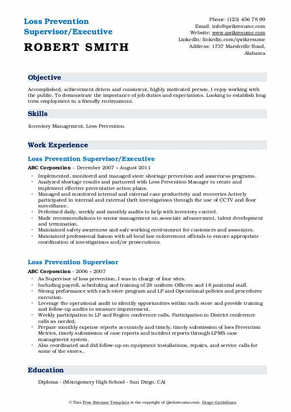 Loss Prevention Supervisor/Executive Resume Model