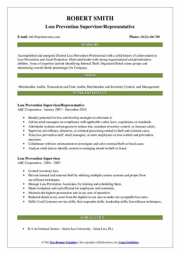 asset protection officer resume samples