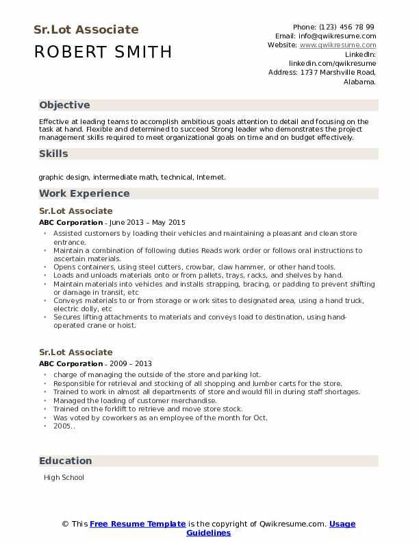 Sr.Lot Associate Resume Format