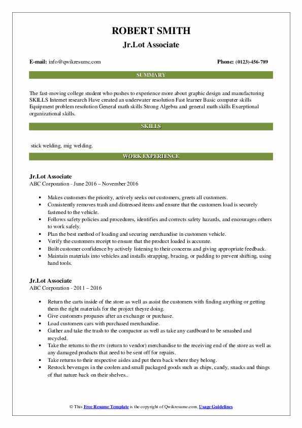 Jr.Lot Associate Resume Template