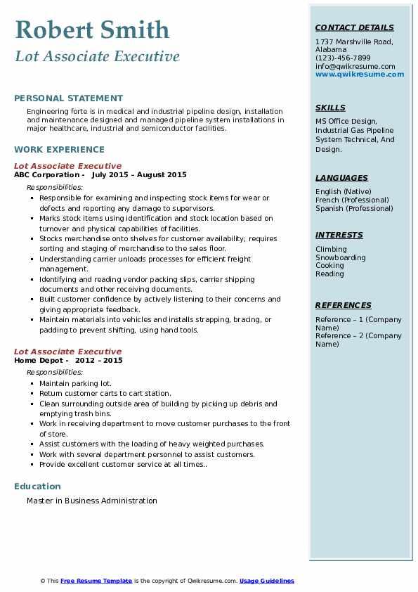 Lot Associate Executive  Resume Template
