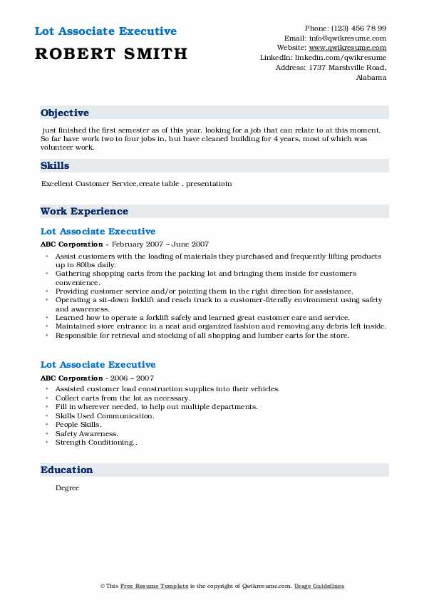 Lot Associate Executive  Resume Format