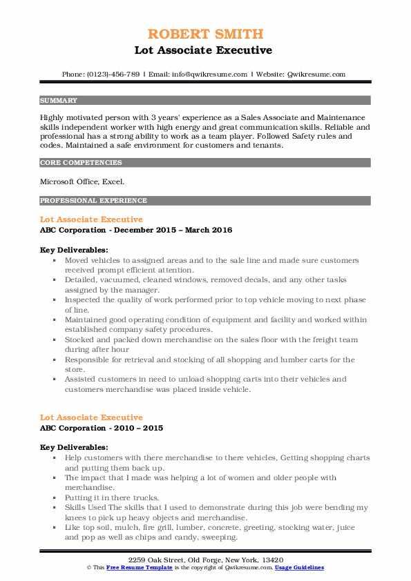 Lot Associate Executive  Resume Example