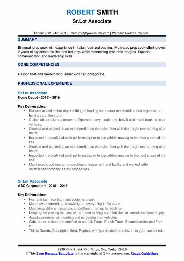 Lot Associate Resume example