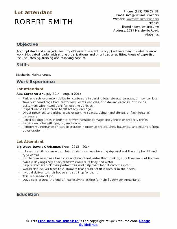 Lot attendant Resume Template