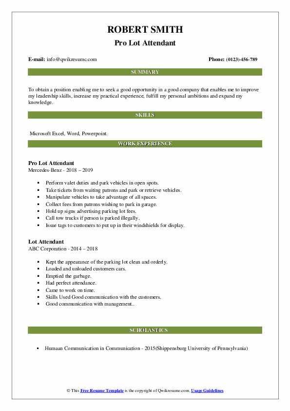 Pro Lot Attendant Resume Sample