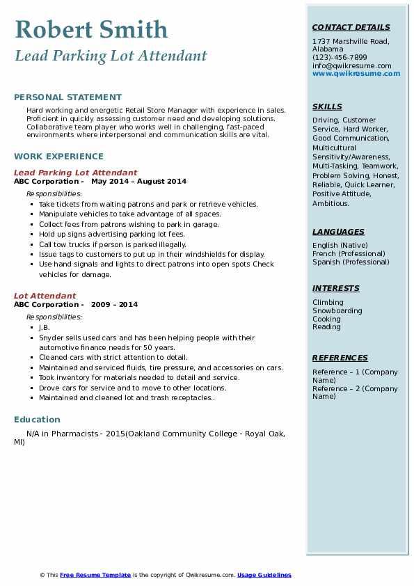 Lead Parking Lot Attendant Resume Format