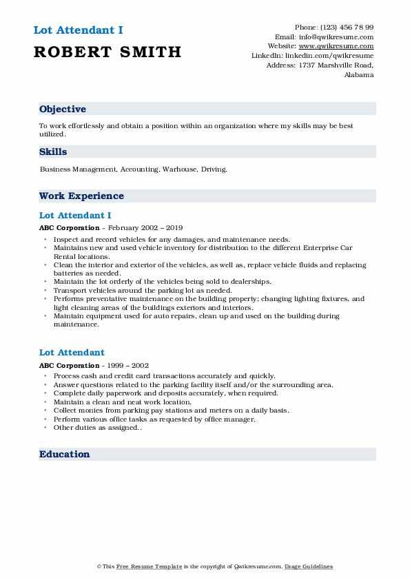 Lot Attendant I Resume Format