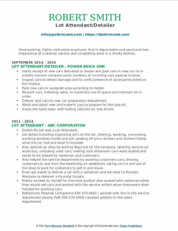 Lot Attendant/Detailer Resume Template