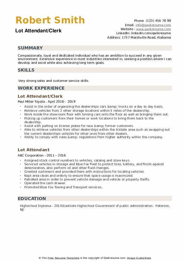 Lot Attendant/Clerk Resume Template