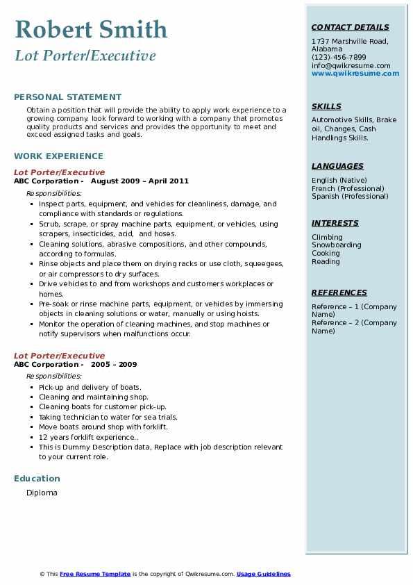 lot porter resume samples  qwikresume