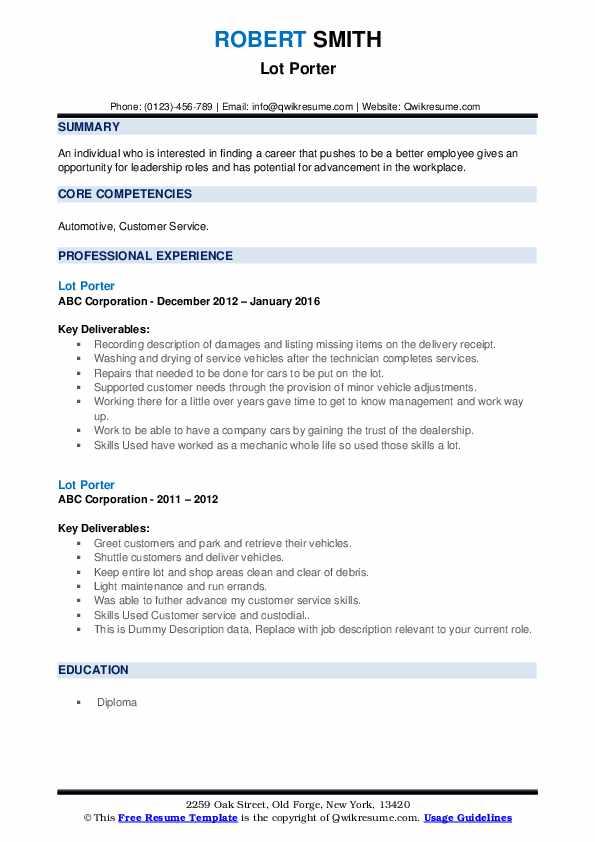 Lot Porter Resume example