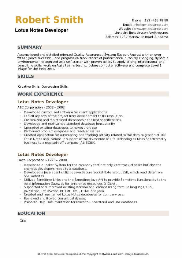Lotus Notes Developer Resume example