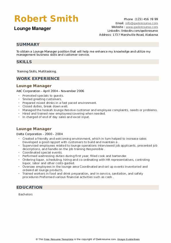 Lounge Manager Resume example