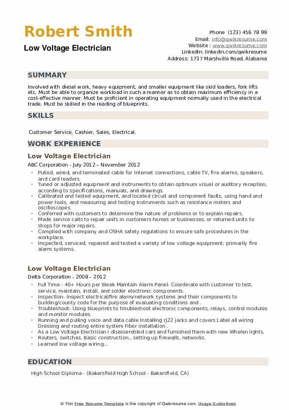 Low Voltage Electrician Resume example