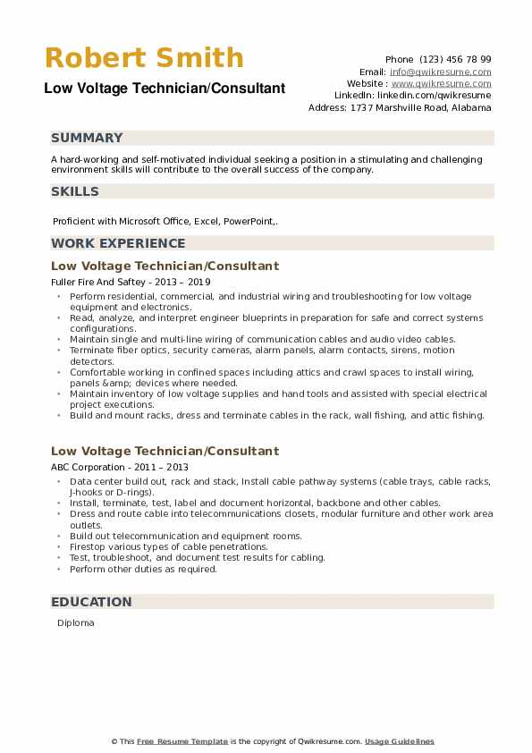 Low Voltage Technician Resume Samples Qwikresume