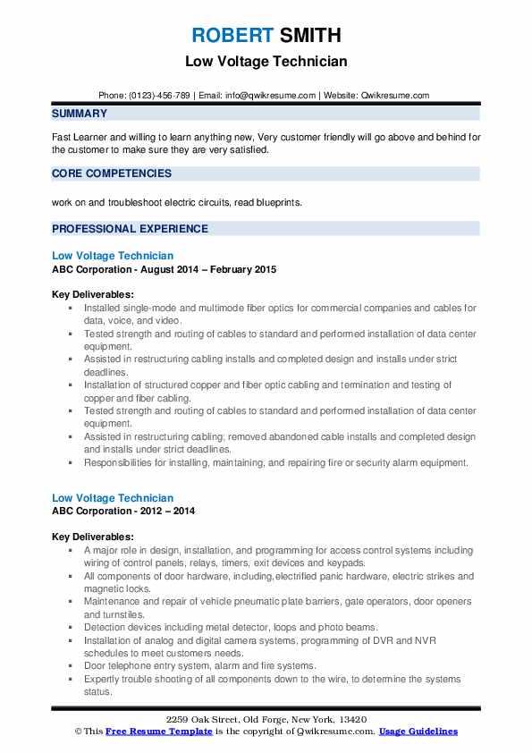Low Voltage Technician Resume example