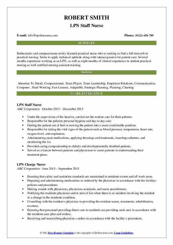 LPN Staff Nurse Resume Model