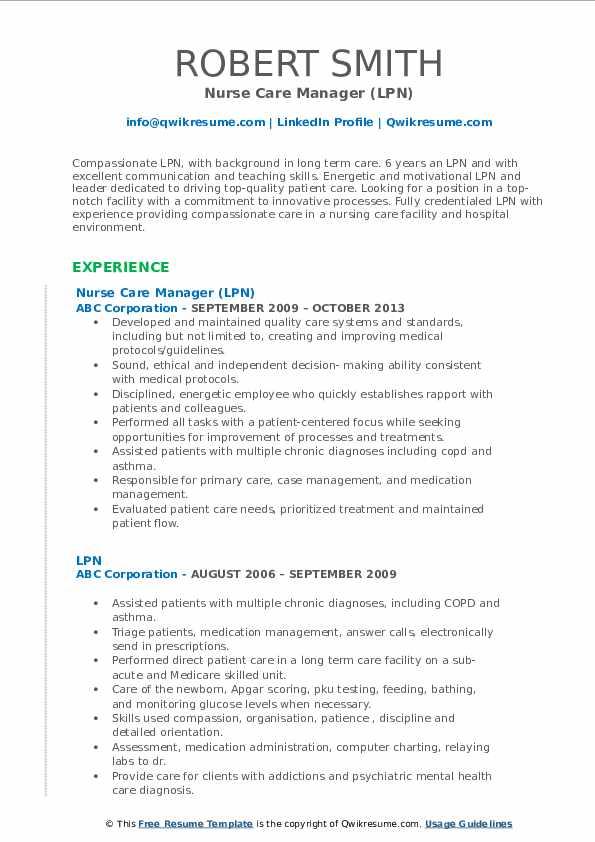 Nurse Care Manager LPN Resume Format