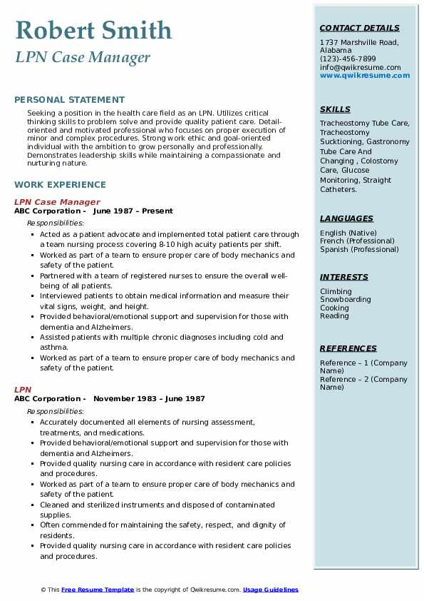 LPN Case Manager Resume Example