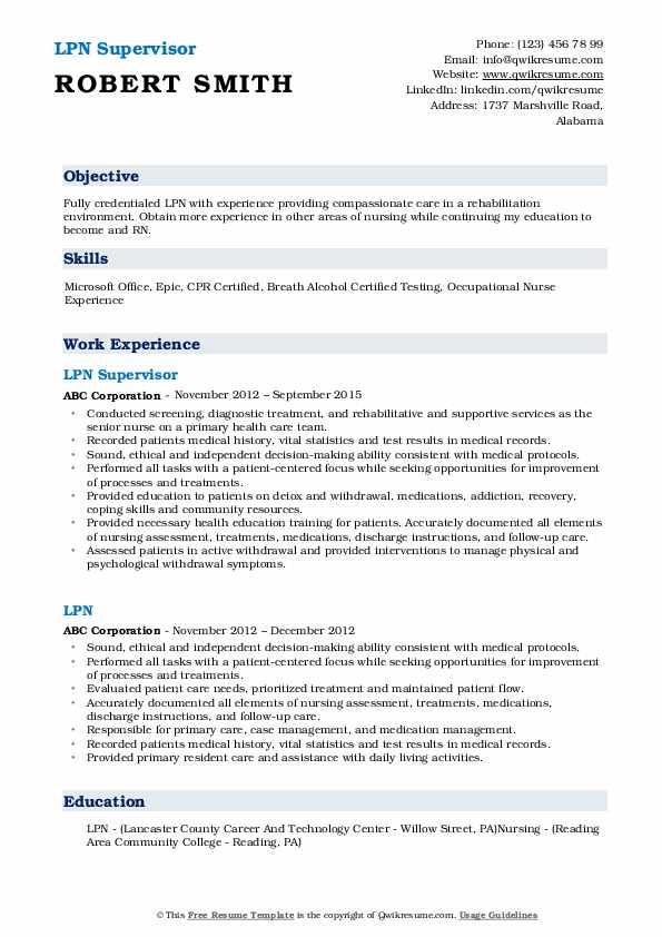 LPN Supervisor Resume Model