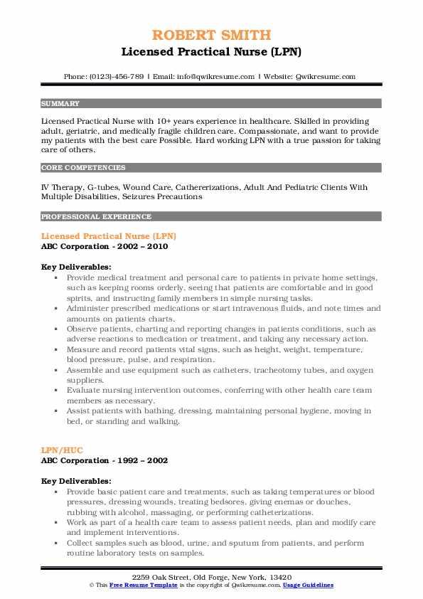 Licensed Practical Nurse (LPN) Resume Format