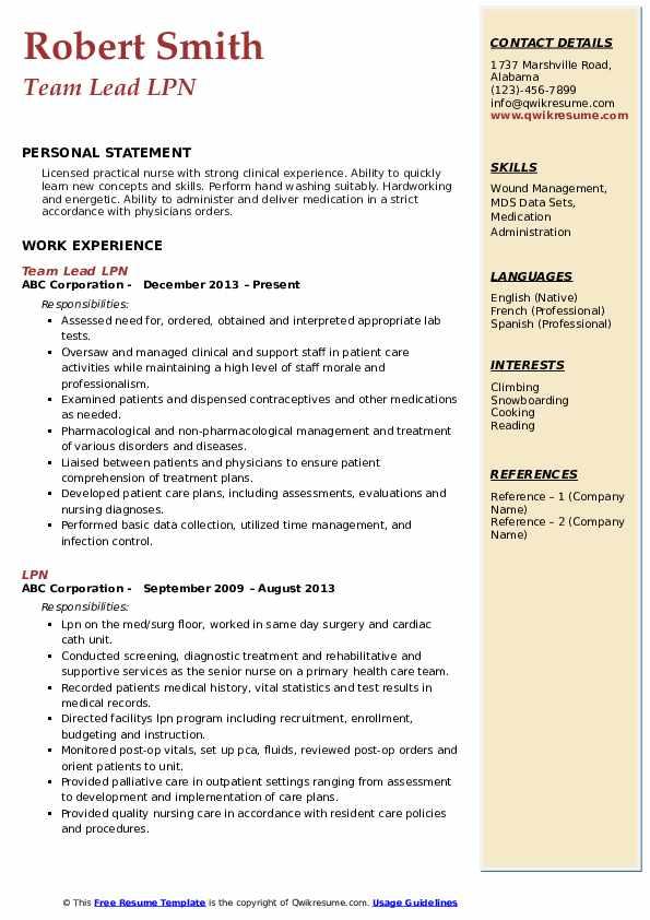 Team Lead LPN Resume Sample