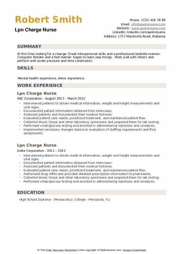 LPN Charge Nurse Resume example