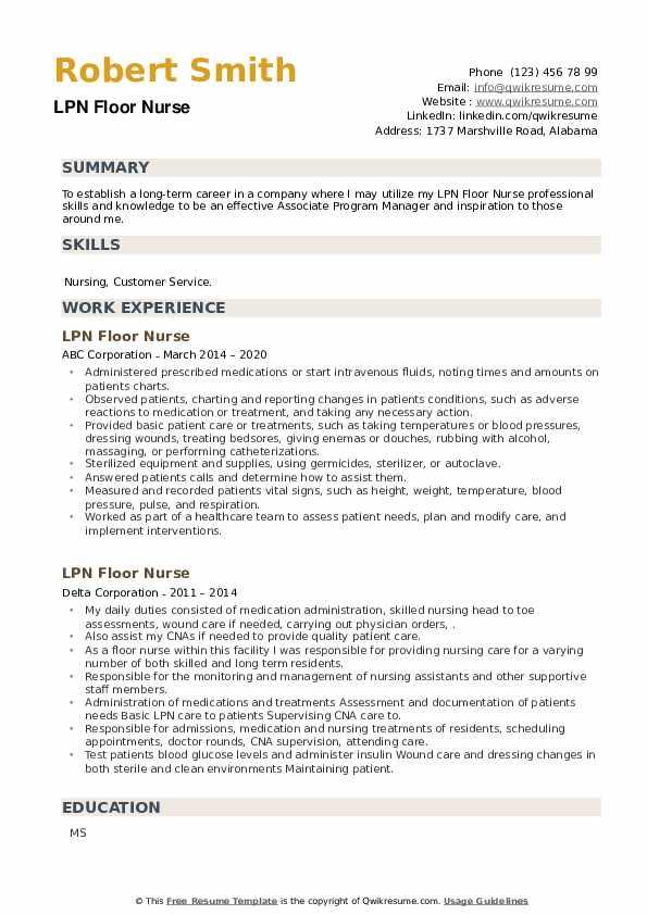 LPN Floor Nurse Resume example