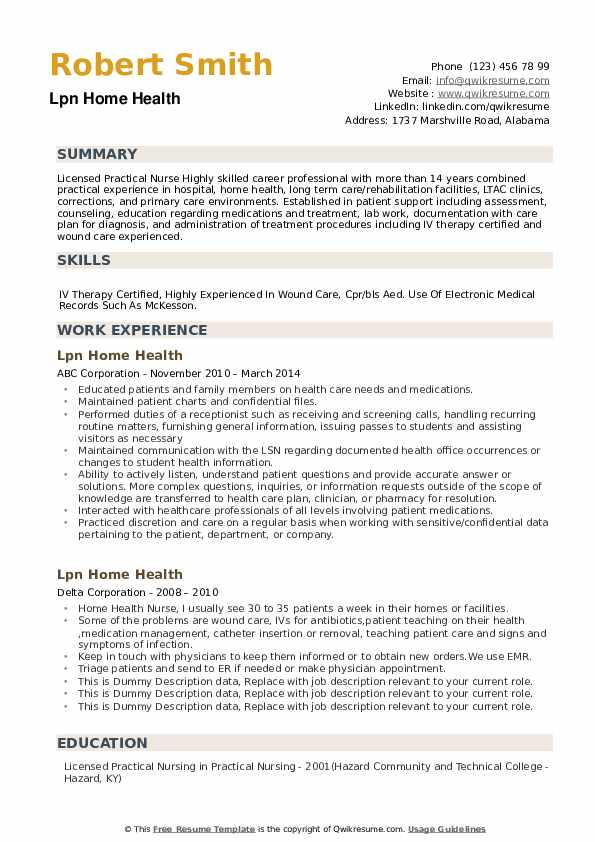 LPN Home Health Resume example