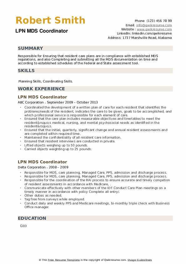 LPN MDS Coordinator Resume example