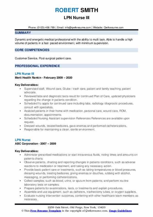 lpn nurse resume samples  qwikresume